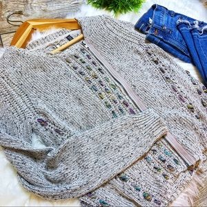 ANTHROPOLOGIE Knitted and Knotted Zip Up Cardigan